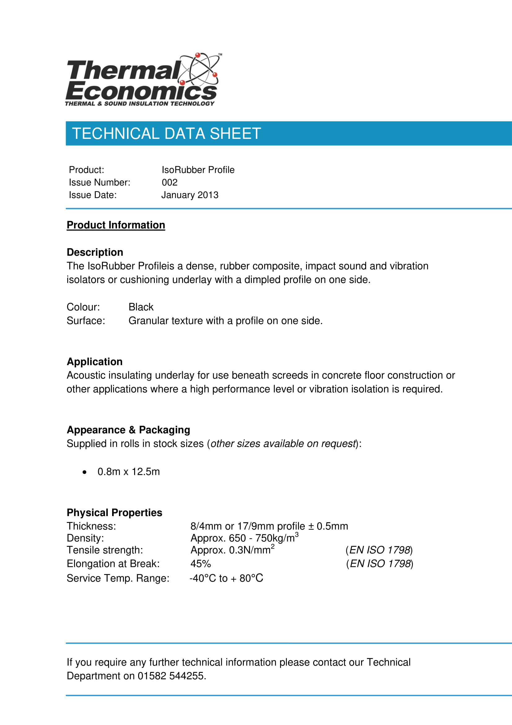 IsoRubber Profile Technical Data Sheet - Acoustic Technical Data